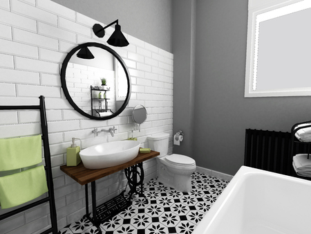black and white bathroom interior Stock Photo