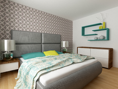 modern bedroom: modern bedroom interior Stock Photo