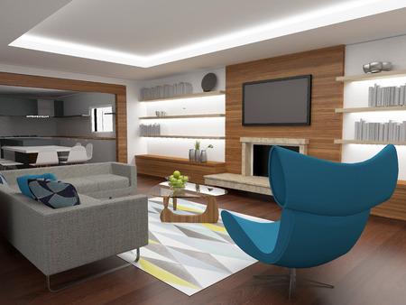 modern living: modern living room interior
