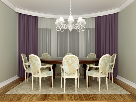 elegant dining room interior Stock Photo
