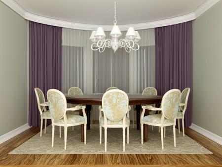 elegant dining room interior Stock Photo