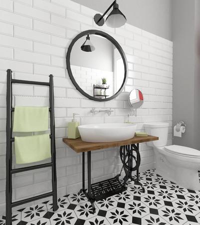 bathroom interior: retro bathroom interior