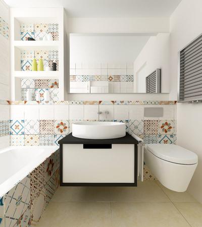 cabine de douche: inter coloré de salle de bains Banque d'images