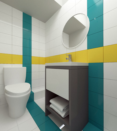 colorful bathroom interior 3d
