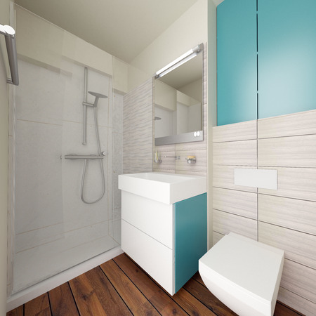 modern bathroom interior with shower, 3d concept