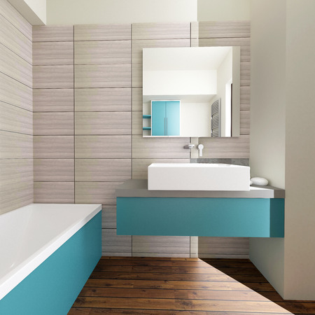 modern bathroom interior with grey wall tiles