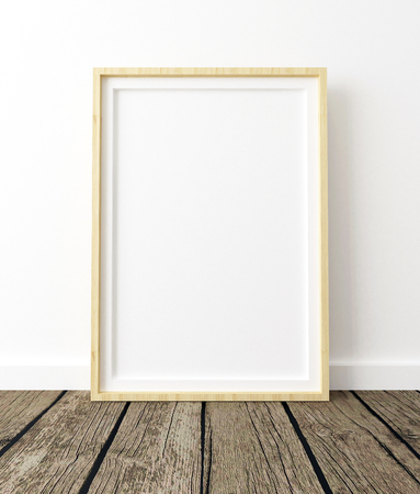 Mock Up Poster Frame, White Background and Wood Floor Interior, 3d Render