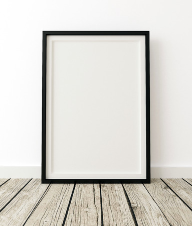 Mock Up Poster Frame on White Wall, Interior White Backrground, 3d Render