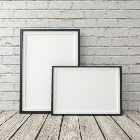 poster frame mokup, black frame on white brick background