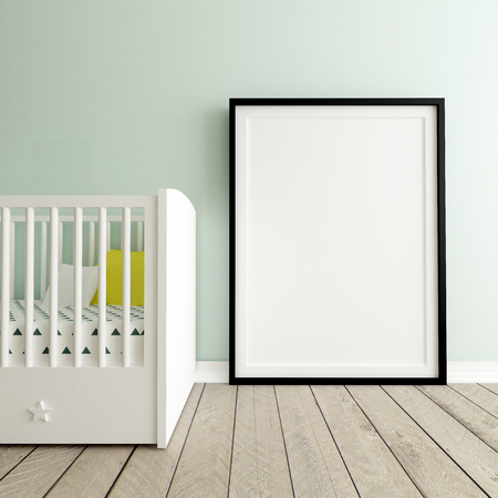 Poster Mockup in Baby Room, 3d Render Stock Photo