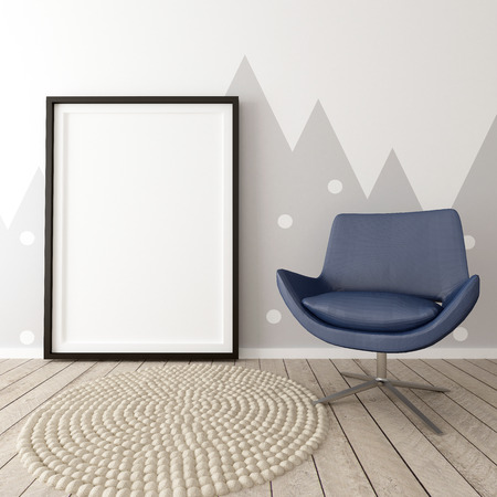 Poster Frame in Children Room Interior, 3d Render