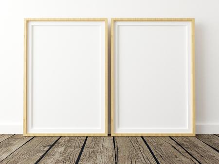 Set of 2 Poster Frame Mockups on White Wall Zdjęcie Seryjne
