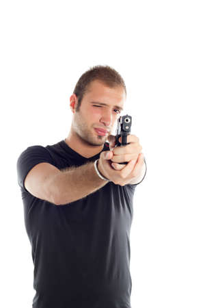 bodyguard guy with gun point and shoot photo
