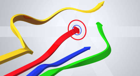four colored arrows that go towards the goal, only an arrow hit the target Stock Photo - 10662731