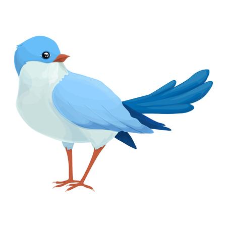 looks: Realistic blue bird looks away. Imaginary view. Illustration
