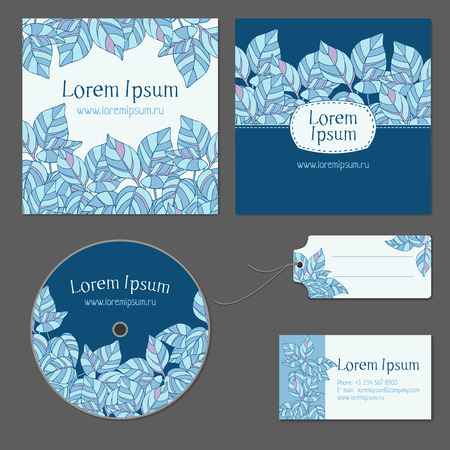 Set of patterns for design. Abstract blue leaves.
