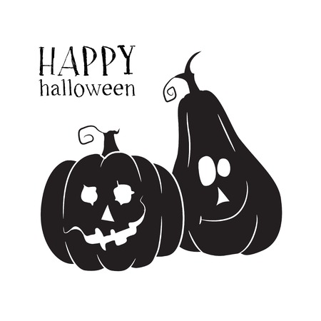 Two pumpkins smile. Halloween symbol. Vector simple icon.