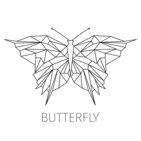 butterfly: Butterfly. The schematical image from geometrical figures. Line art . Element for design of a logo or an emblem