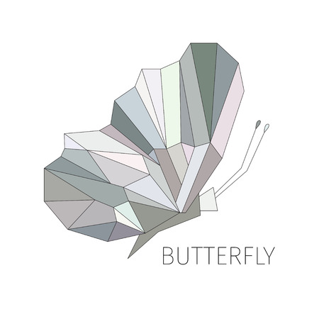 Butterfly in a profile. The schematical image from geometrical figures. Grounds. Element for design of a logo or an emblem Vettoriali