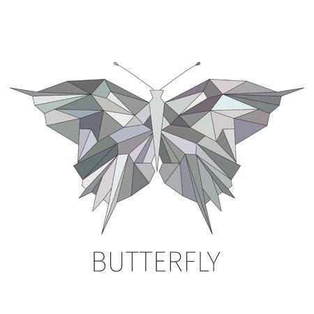 Farfalla. L'immagine schematica da figure geometriche. Motivi. Un elemento di design di un logo o di un emblema