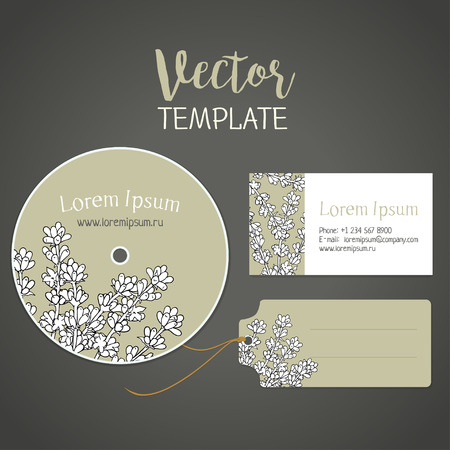 fragrant bouquet: Lavender.  flower template for a card, a disk and a label. Corporate style