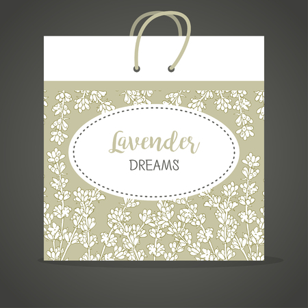 fragrant bouquet: Lavender. flower template for a paper package. Background. Corporate style