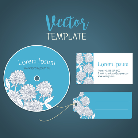 abloom: Clover flowers. template for a card, a disk and a label. Corporate style Illustration