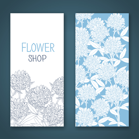 abloom: Clover flowers. A template of the gift certificate for flower shop, a card or the invitation. Illustration