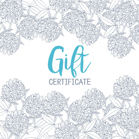 abloom: Clover flowers. A template of the gift certificate for flower shop, a card or the invitation. Graphics Illustration