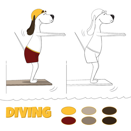 The ridiculous cartoon dog jumps in water from tower. illustration for coloring book