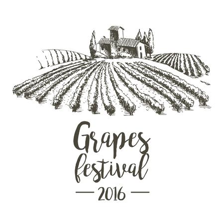 Cépages festival. Lodge de vignes. Illustration pour la conception.