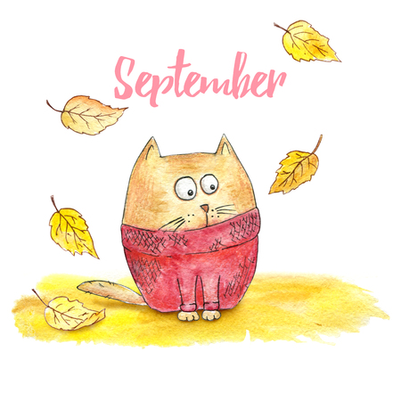 Cartoon cat in a knitted sweater with fallen leaves. September. Autumn illustration
