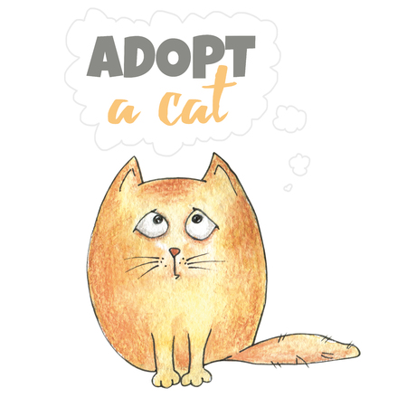 adoption: Lovely animation kitten. An illustration for the poster about adoption of animals