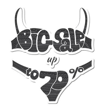 Seventy percent. The inscription big sale decorated ornaments. Sticker. illustration