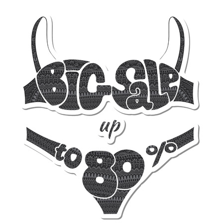 Eighty percent. The inscription big sale decorated ornaments. Sticker. illustration