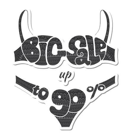 Ninety percent. The inscription big sale decorated ornaments. Sticker. illustration