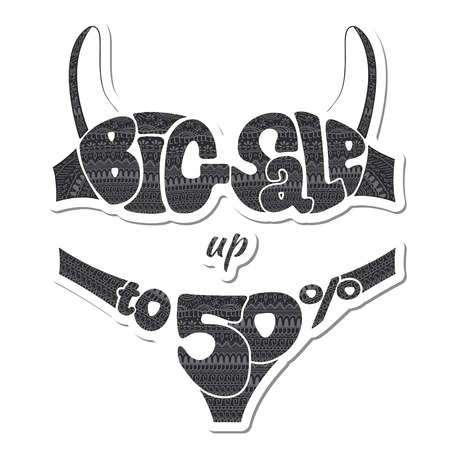 camisole: Fifty percent. The inscription big sale hand-decorated ornaments. Sticker. illustration Illustration