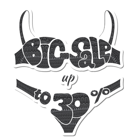 Thirty percent. The inscription big sale decorated ornaments. Sticker. illustration