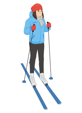 equipping: The young animation girl costs on skis. Winter sport. illustration