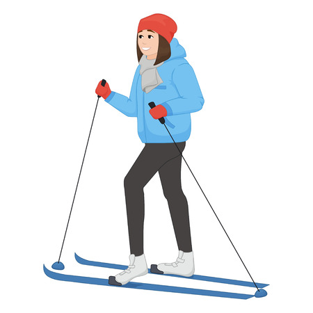 equipping: The young animation girl skis. Winter sport. illustration