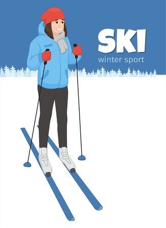 equipping: The young animation girl costs on skis. Winter sport. Vector illustration