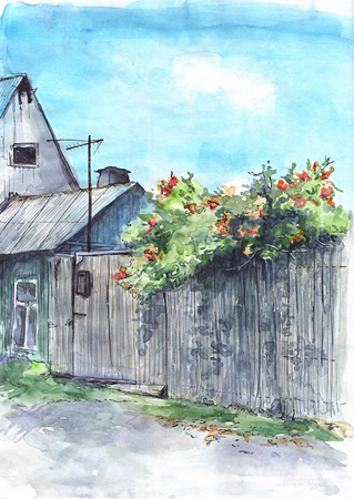 clearly: Lodge with a gate and trees. Village. Watercolor sketch Stock Photo
