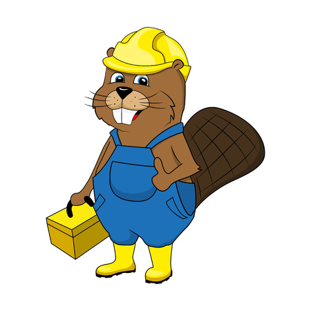 Animation beaver in an image of the master. Repair and construction. Vector illustration Vettoriali