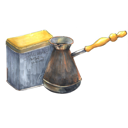 Can of coffee and coffee-pot. Illustration markers. Isolated on a white background