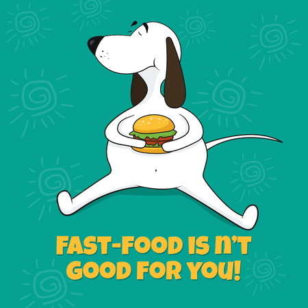 The fat dog eats fast food. Vector illustration. Caricature on green background. Illustration