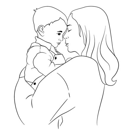 A mother holds a small child in her arms. Vector illustration