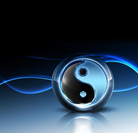 taoism: 3d yin yang symbol - fantastic abstract design or art element for your projects Stock Photo