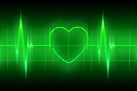 hiebe: gr�ne Linie des Impulses mit dem Symbol des Herzens Lizenzfreie Bilder