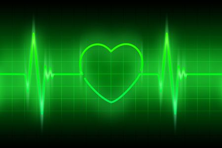 cardioid: green line of the pulse with the symbol of the heart Stock Photo