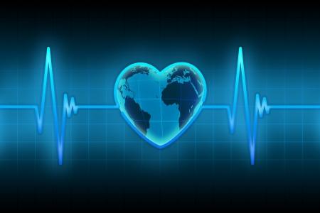 electro: blaue Linie des Pulses mit dem Planeten in der Form des Herzens Lizenzfreie Bilder